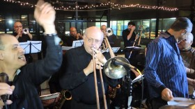 The Mambo Legends Orchestra, in action, featuring Frankie Figueroa